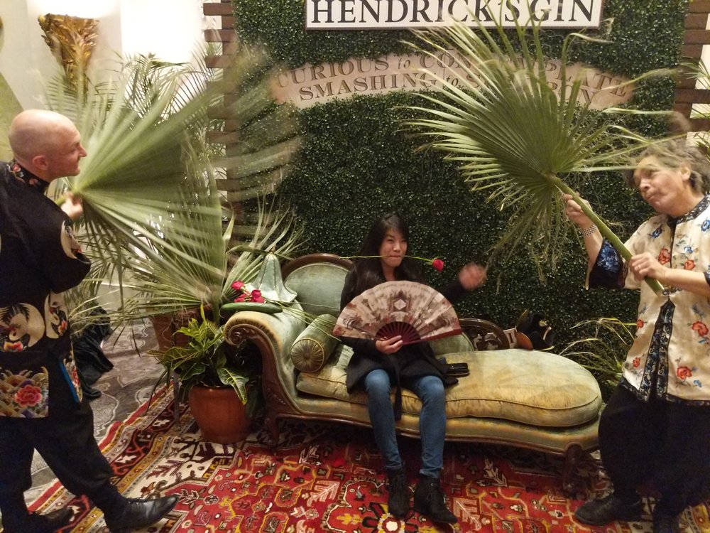 Goofing off in the Hendrick's relaxation lounge