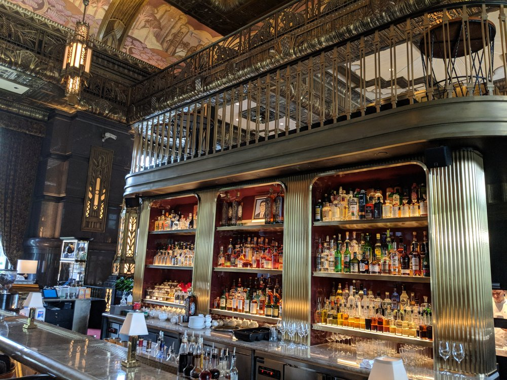 "The art deco inspired beautiful interior of Atlas Singapore, from top to bottom: the ""larger"" bar featuring a 3-story cabinet of gins 