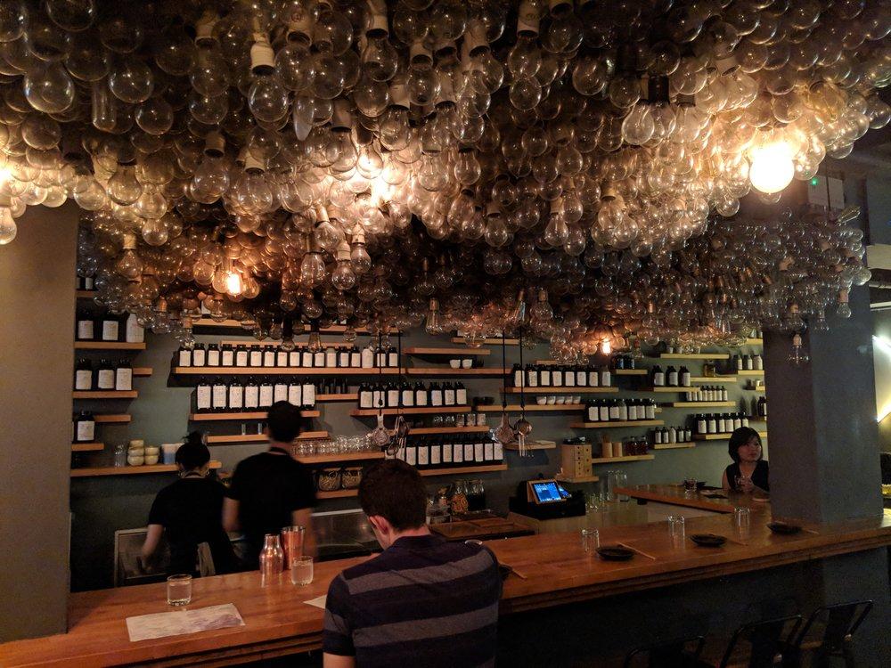 Light bulbs leading up to the bar