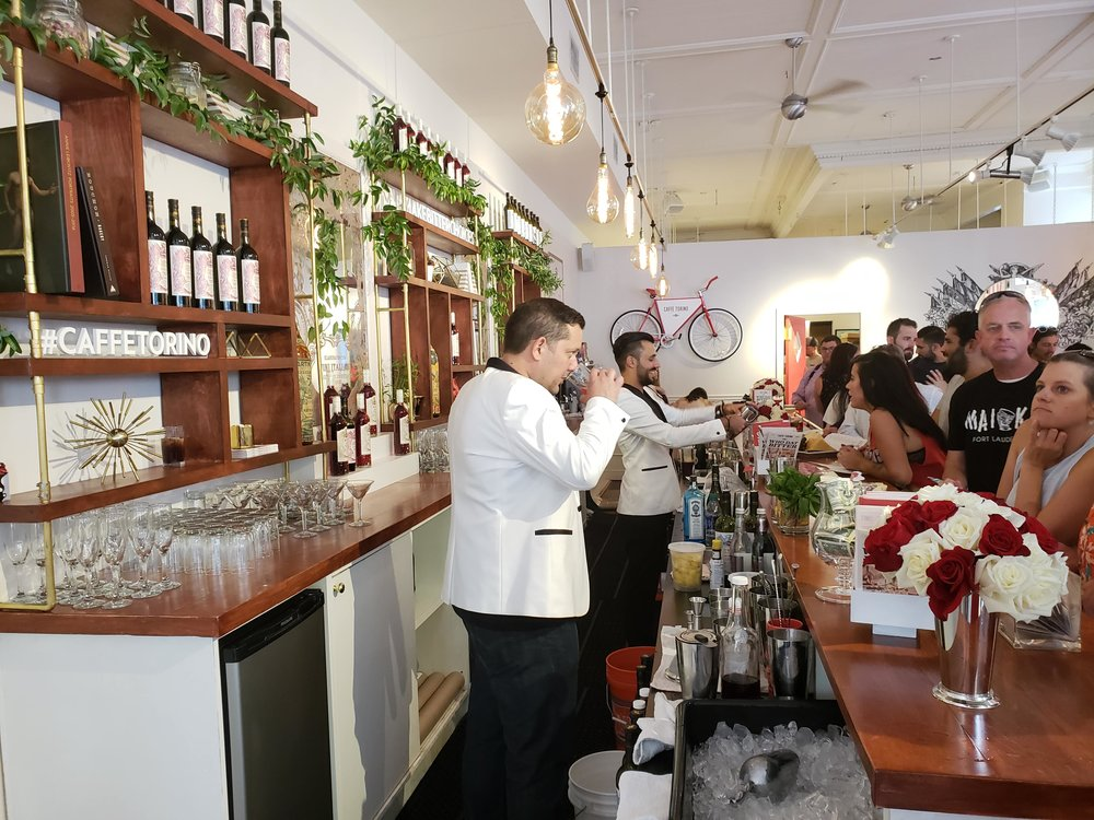 Caffe Torino with Martini Rossos' vermouths and bitters on display