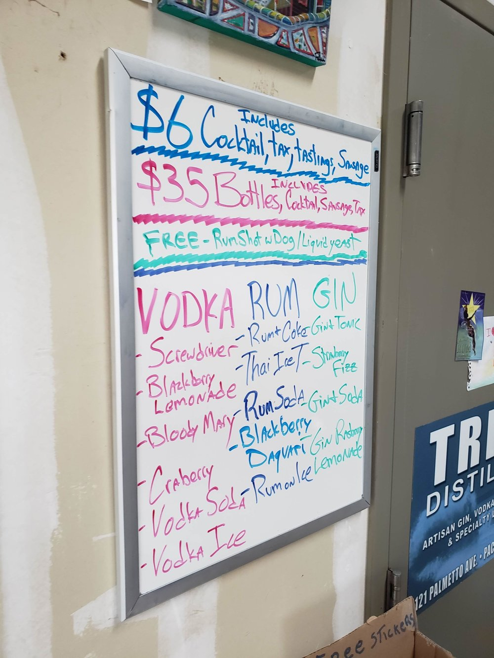 $6: includes choice of cocktail, tax, tastings, and sausage. Free rum shot if you bring your dog.
