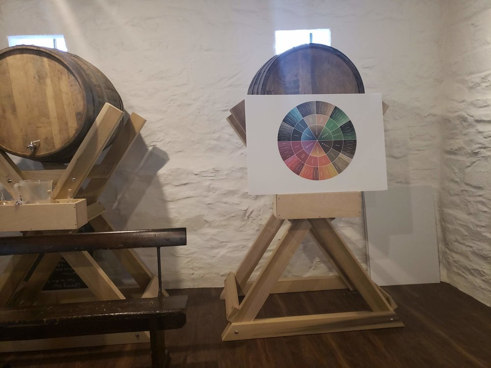 Flavor wheel and barrel at Lagavulin