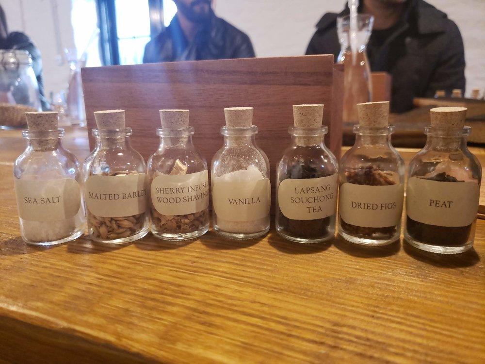 Tasting bottles on the sensory tour