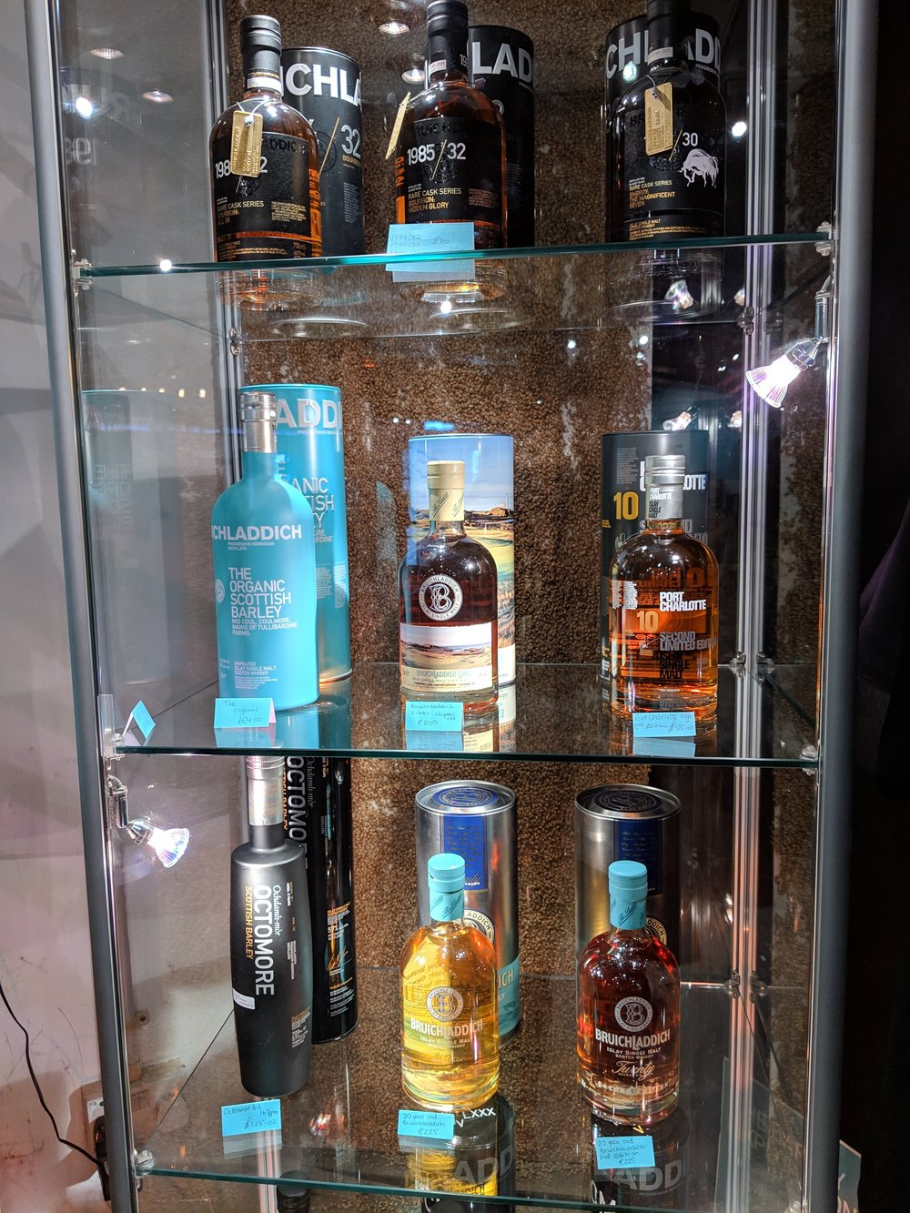Some of the Bruichladdich wares for sale