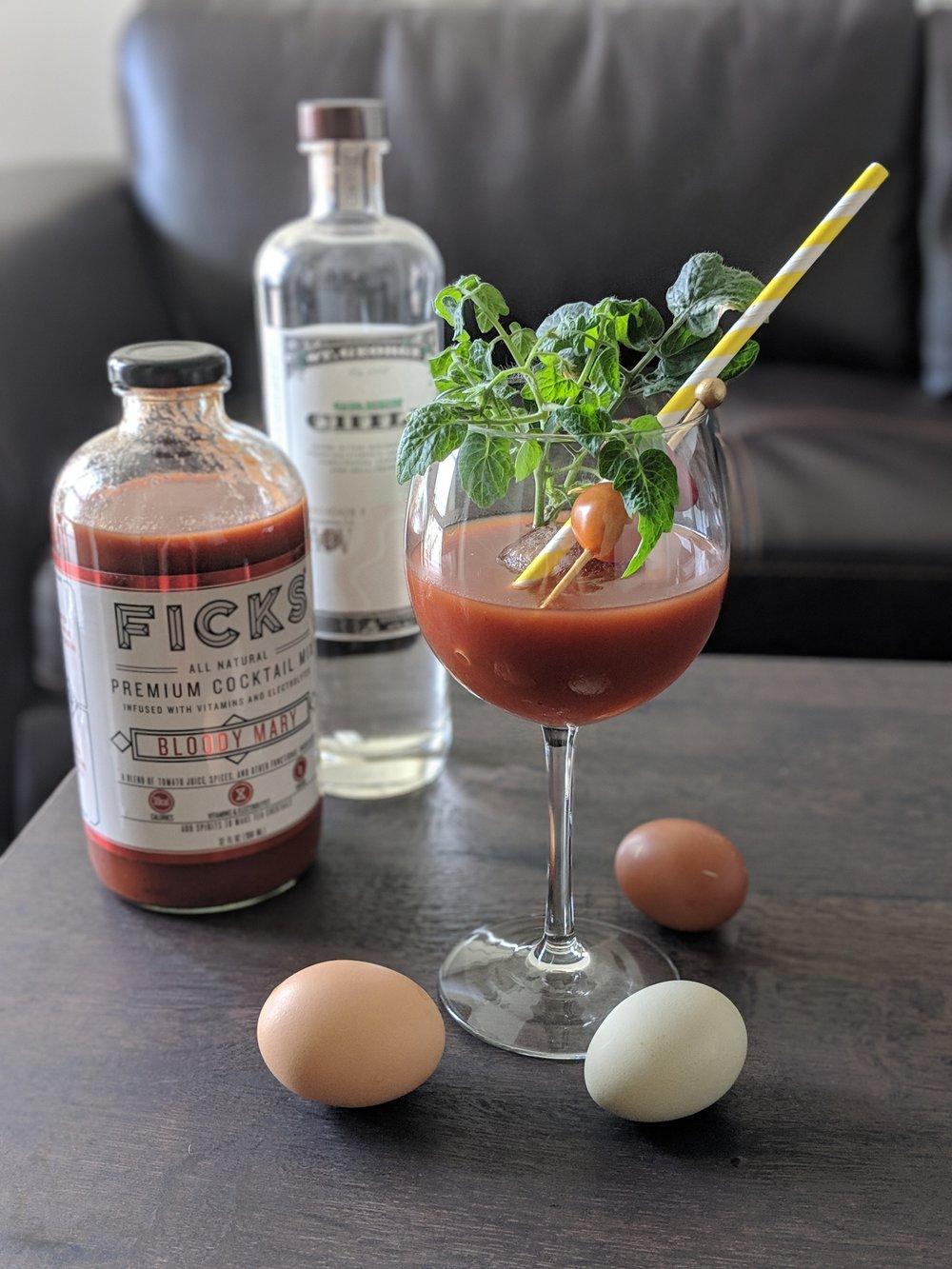 Bloody Mary: Ficks and St. George chili vodka. Liquid breakfast!