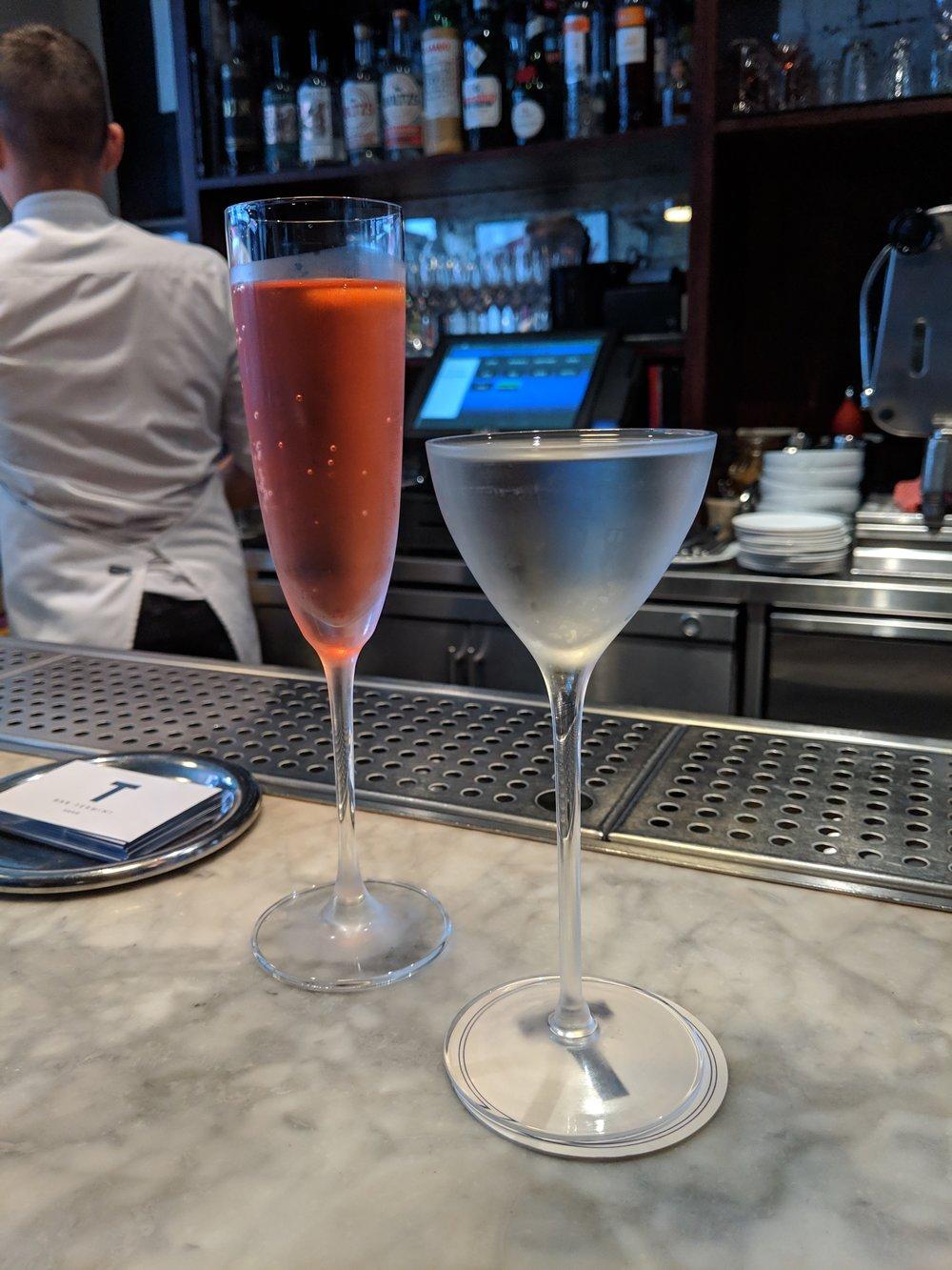 Bar termini cocktails: Spritz (left) and Terroir (right). Both excellent, but not un-expected.