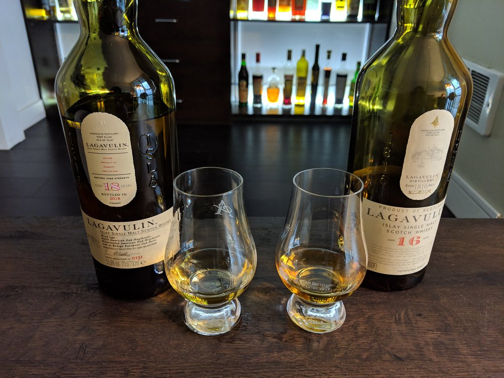Lagavulin Feis 18 (left) and Lagavulin 16 (right). Lighter color on the 18 with less oil but more smoke - and more complex.