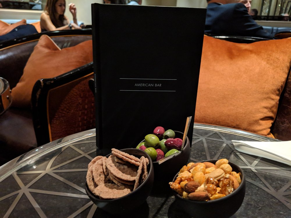 Complimentary snacks at the American Bar