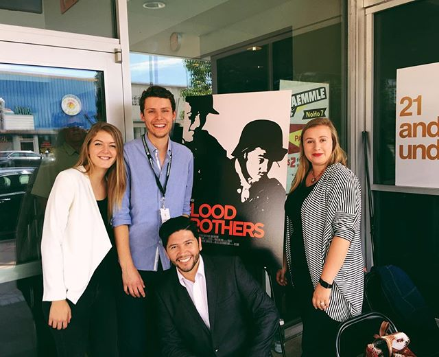Some of the #bloodbrothersmovie team at our screening @lashortsfest. Right to left: Nicole Falsetti (Producer), Max Chernov (Director), Dan Funes (Executive Producer), Elena Bawiec (Executive Producer)