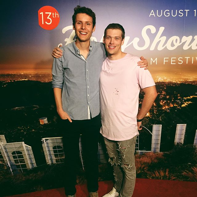 "Director Max Chernov with actors Cameron Cowperthwaite as ""Paul"" and Robert Dylan Bare as ""Charlie"" @hollyshorts"