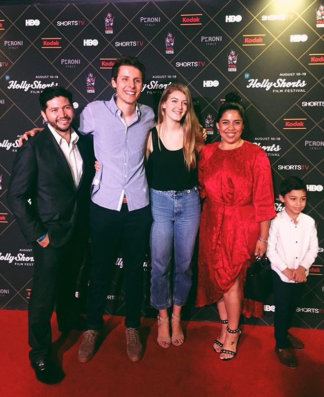 Some of the crew at our screening of #bloodbrothersmovie at #hollyshorts today! Pictured from right to left: Dan Funes (Executive Producer), Max Chernov (Director), Nicole Falsetti (Producer), and Gaby Acosta (Costume Designer) @hollyshorts @chinesetheatres