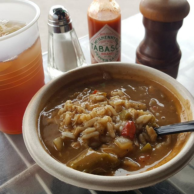 Now that looks amazing! Come out to Alberta Baptist for a hot bowl of the best Seafood Gumbo in town, fresh from American Lunch! #forthepeople #freelunch #americanlunch #gumbo #gulftotable #fivebar #harbordocks