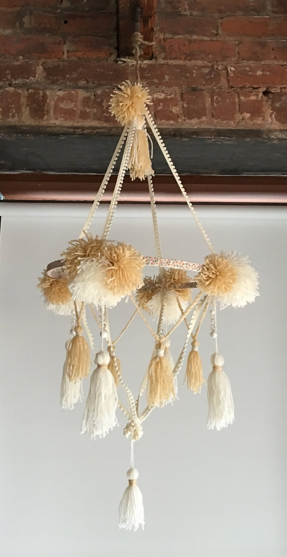 DIY POM TASSEL MOBILE CHANDELIER