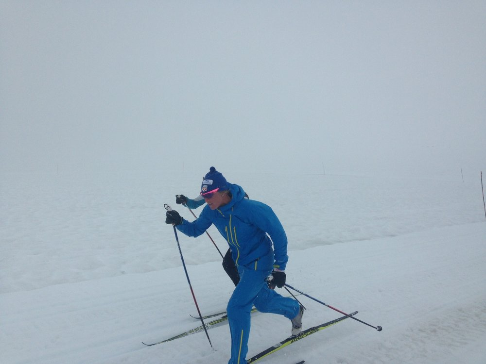 Intervals in my dry suit... Smurf skiing!