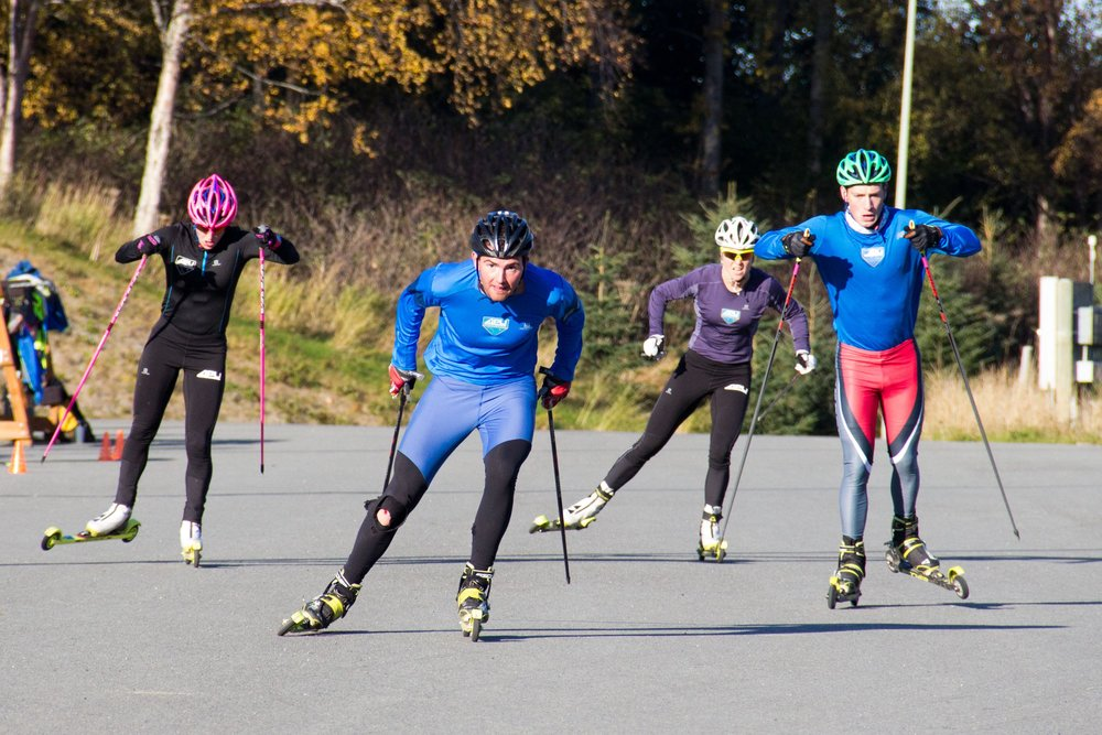 Cashing the boys during a sprint TT. Faster skis makes for a fun challenge for both of us! (Eric Packer photo)