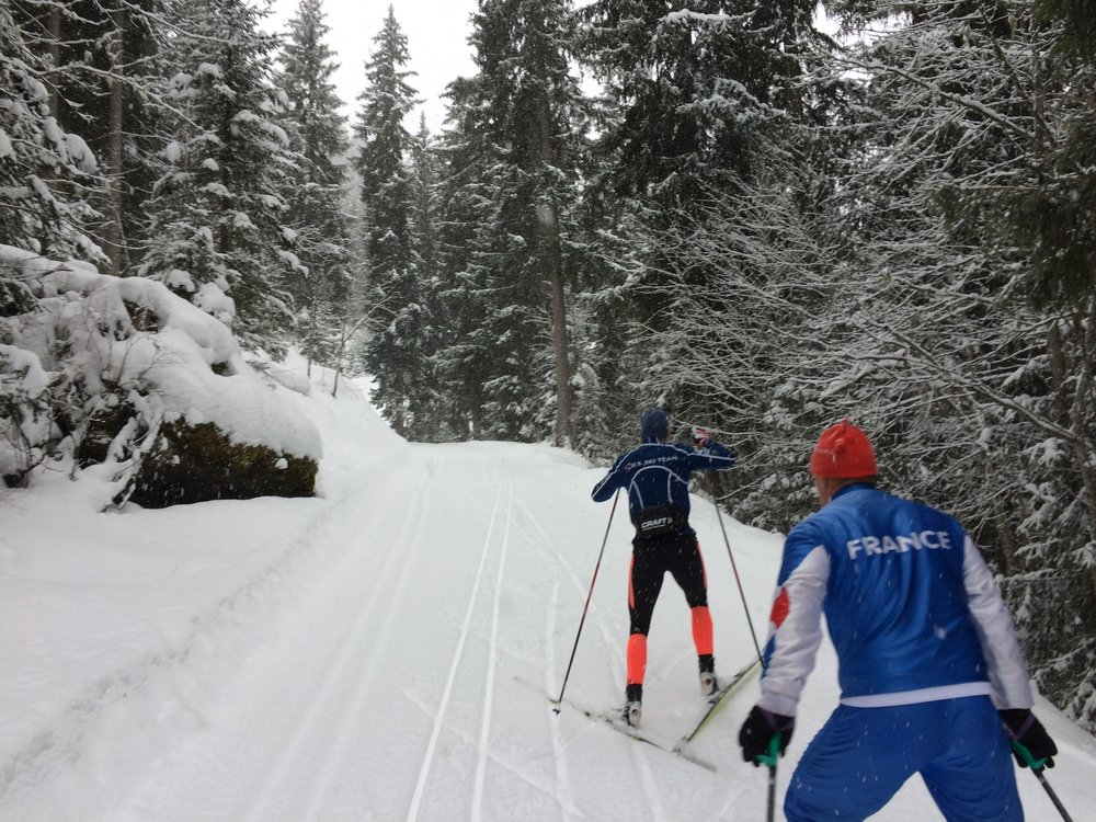 Taking a trip to Courchevel on a snowy day with one of the local nordic ski instructors and a great cheerleader!