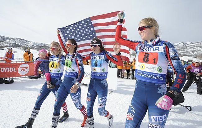 Cheering on my younger teammates during World Junior Championships. Pretty incredible to see them on the podium! (USSA Nordic photo).