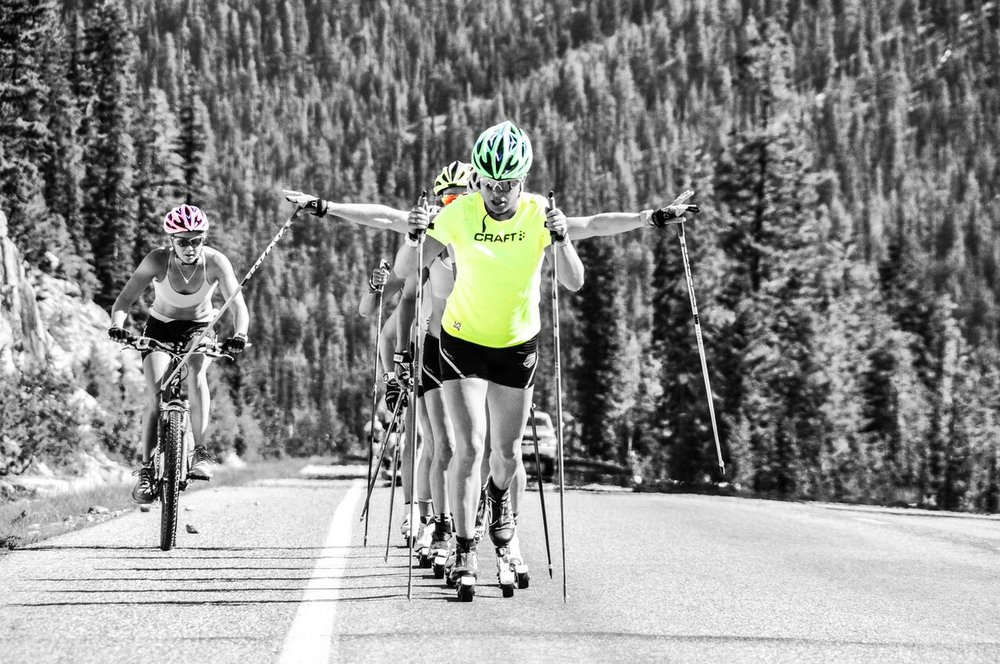 Biking with the girls up Washington Pass. Ski boots weren't working out so well with my heels. (Matt Whitcomb photo)