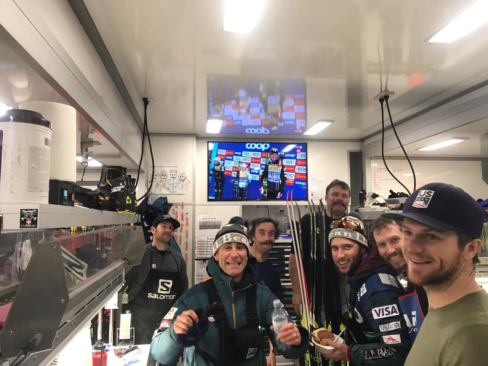 I love how this pictures captures the magic behind a moment. Here I am on the podium, surrounded by the waxing and coaching team that helped make my successful day possible. Thank you to this crew for making some wonderful skis!