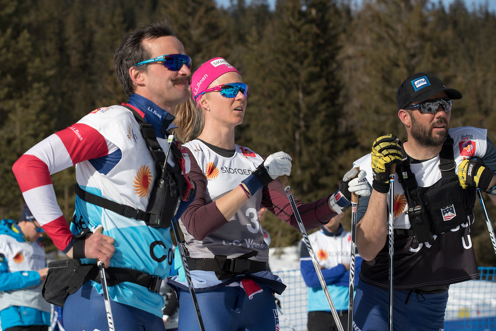 Making a race strategy with my coach (Erik Flora) and my technician (Jean-Pascal Laurin) before the start of the race. (Reese Brown photo)