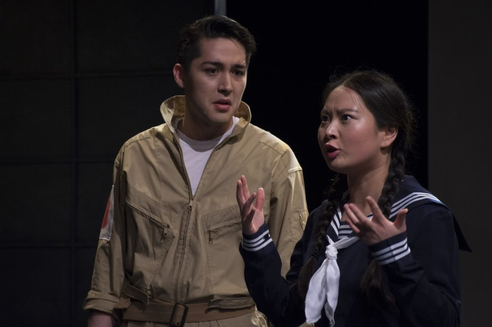Josh Kenji as a pilot and Mi Kang as a girl in the Nadeshiko Unit in Keiko Green's  Nadeshiko.  Photo by John Cornicello.