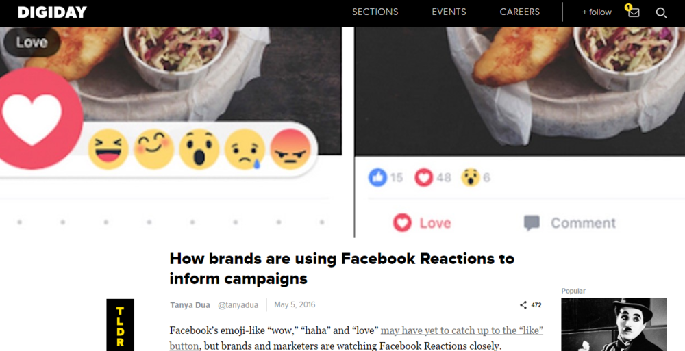 Digiday: Reaction buttons inform campaigns