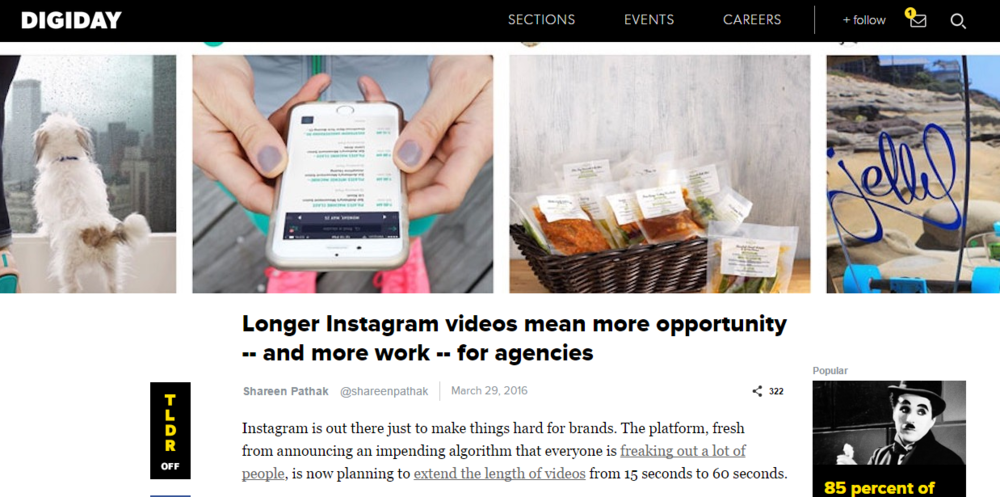 Digiday: Longer Instagram video