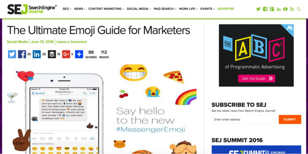 Search Engine Journal: The Ultimate Emoji Guide for Marketers