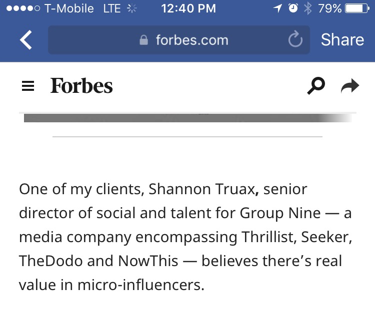 Forbes: Fame As A Career Choice And The Rise Of Micro-Influencers