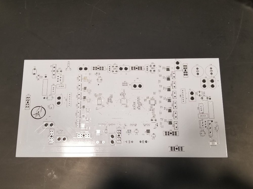 Power Management - Timeline: PCB Assembly - Feb 2019, Test PCB - Feb 2019, Hot Fire - April 2019, Adapt for Liquid V2 Engine - May 2019The Power Management team is responsible for assuring the many pressure and temperature sensors are fed with the proper voltages and an appropriately small level of noise. In addition, this system must be able to provide power at high current to an array of motors actuating our valves. As well as providing the proper voltage for using our igniters.All this power will come from a bank of high discharge rate graphite LIPOs. The battery management and balancing will be performed by the board pictured here, designed by David Hickox.