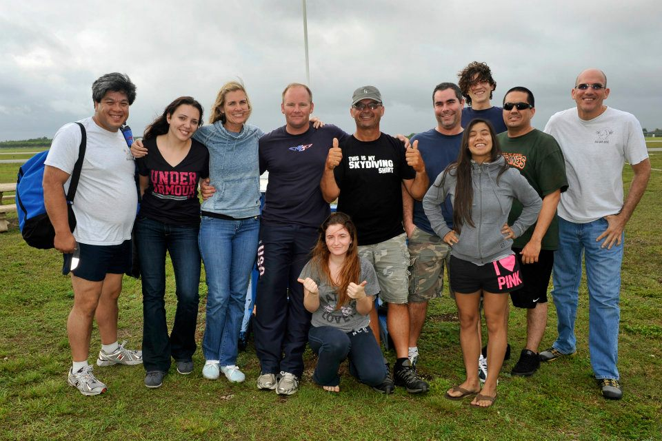 Greg with his students at Skydive Miami.