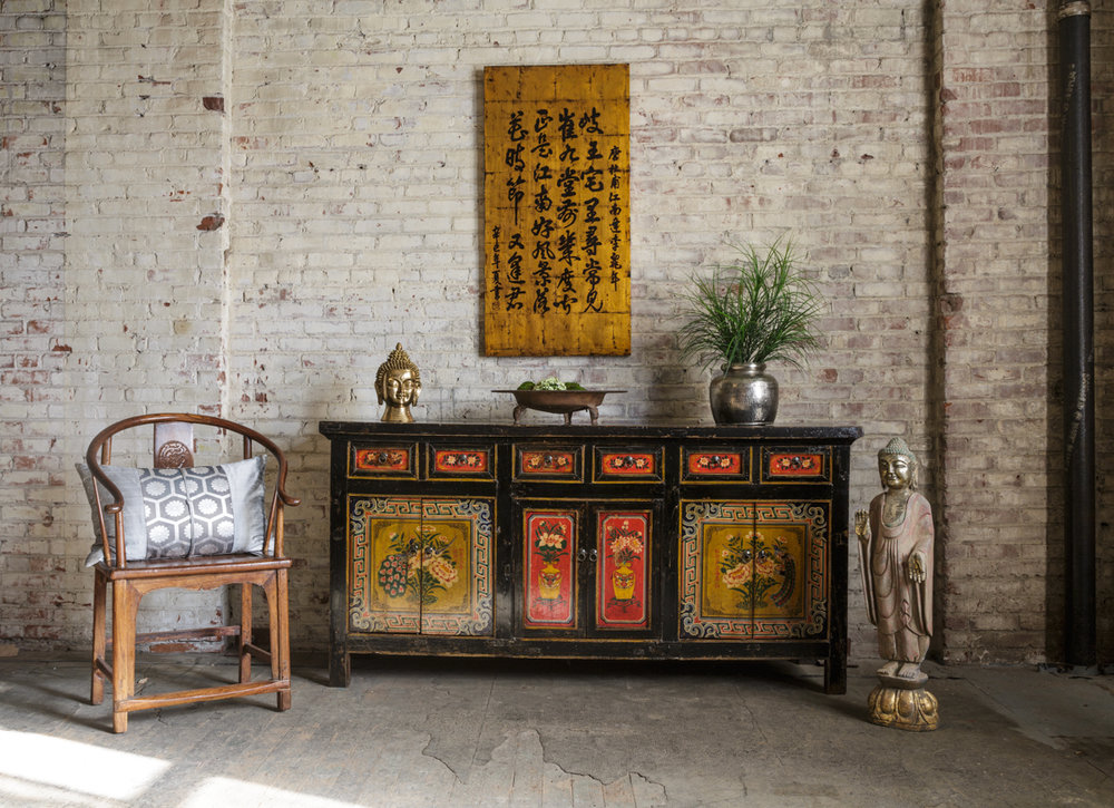 Tang Dynasty Chinese poem over a painted Mongolian cabinet with a brass  Indian Buddha head and - Asia America