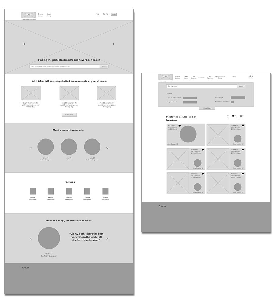 Designs of homepage and an early design of the search results
