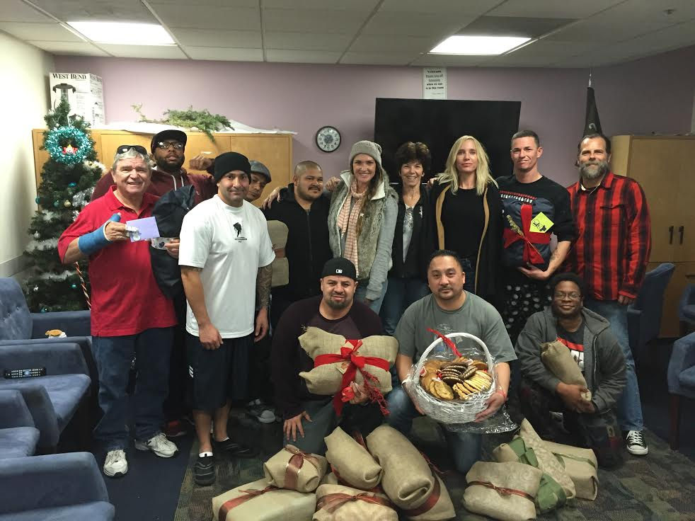 Cozy Courage Team delivering wrapped blankets and cookies to the West LA VA Men's Combat Trauma Unit. Christmas Day 2015