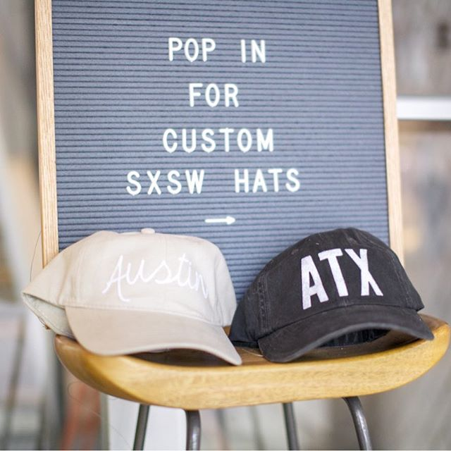 We're capping off SX the only way we know how — custom #handpressed hats! 😌🤗 - Stop in between 11-6 today to shop our retail store + buy a customizable @frankiejean hat in honor of #sxsw 🤟🏻 We'll have the door open and the hat press hot and ready for you when you get here! 🧢 Pop in and SX the right way! 💁🏼‍♀️