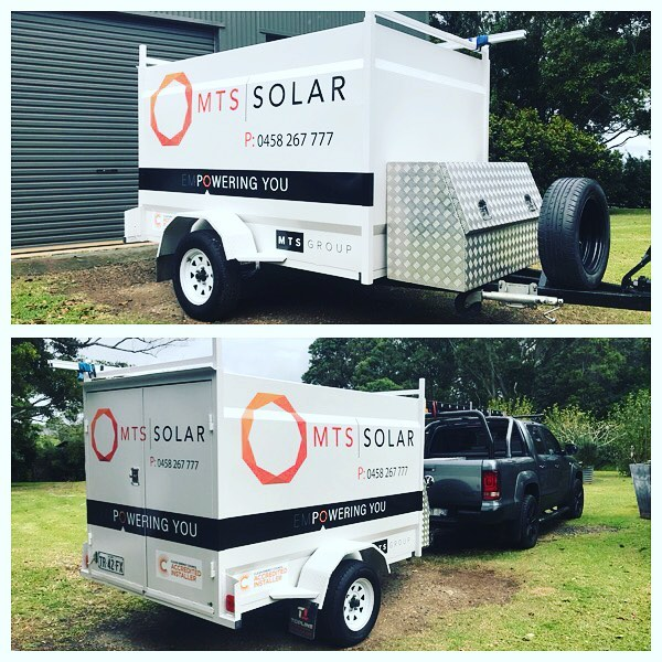 Revamped the trusty solar trailer this week with a new paint job and sign writing. Sick!