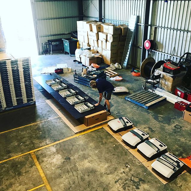 Assembling our bank of fronius inverters for MTS Solar's latest commercial project. Nice! #qualitysolarproducts #qualitysolar #froniussolar