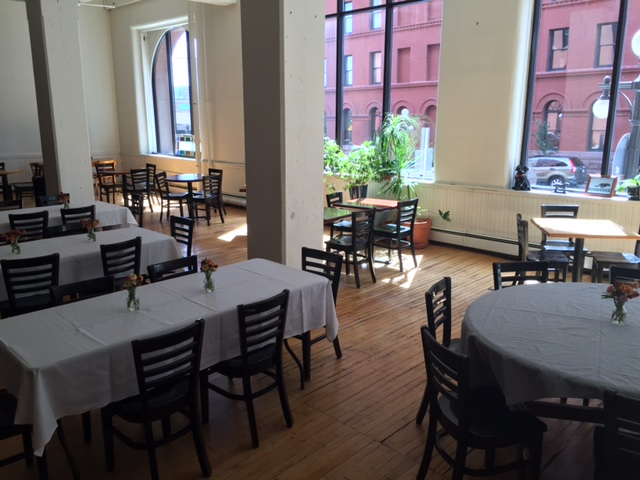 Our back room is a very versatile, semi-private, party/meeting space