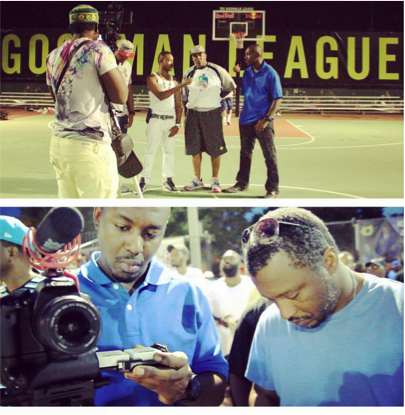 (top) shooting goodman league documentary in barry farm. (bottom) veteran shooters on site at the goodman league shoot.