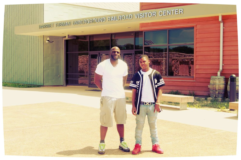 Brandon and Neil pose during a visit to the harriet tubman underground railroad visitor center.