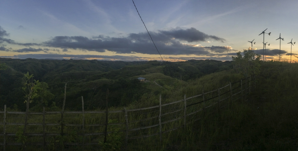 The most beautiful wind farm I've ever seen. Kamanggih sits atop a ridge among these sharply rolling hills. Although no more then one to two thousand feet above sea level, the clouds always feel extremely low.