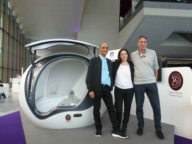 From left to right, Sonic Womb Productions co Founders Prof. Julian Henriques, Aude Thibaut and Prof. Eric Jauniaux in front of  The Sonic Womb Orrb at the Brain Forum