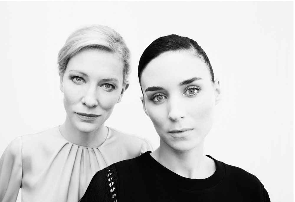 Beautiful black and white portrait of Rooney Mara and Cate Blanchett photographed by Chris Floyd at Cannes promoting Carol based on book by Patricia Highsmith. Chris is represented by Flock
