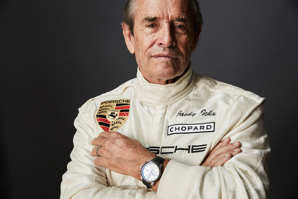 Racing Car driver Jacky Ickx wearing Chopard watch photographed by Chris Floyd represented by Flock