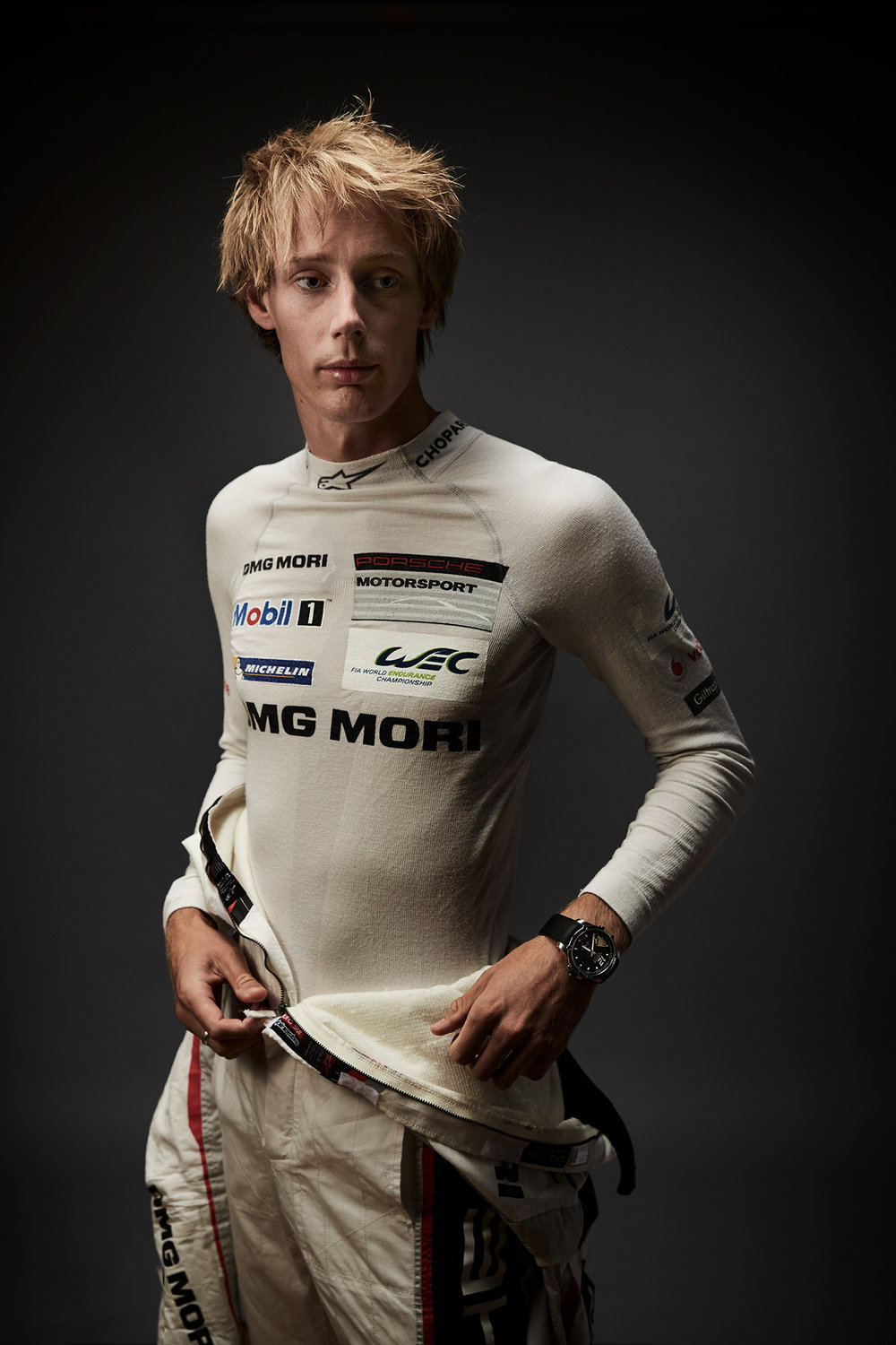 Driver Brendon Hartley photographed by Chris Floyd represented by Flock