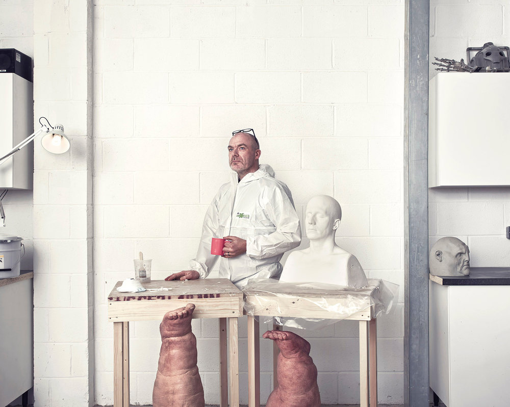 For this portrait, Phil photographed Neil Gorton in his workshop who runs Millennium FX the largest Special Effects and Prosthetics company in Europe. Neil was behind the prosthetics for Ex Machina, Saving Private Ryan and Children of Men.