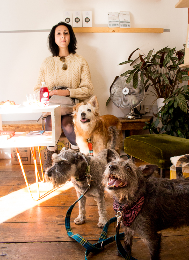Mesmerised by treats: Norfolk travel insider Frosso,canine editor Pippa with friends Pearl and Wolf