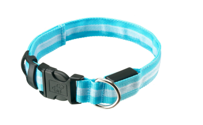 A more traditional dog collar, this battery-operated safety collar features a safety clip and D-hook for the leash. It is slightly less visible than the LED collar (left), but it is more practical as it functions like a normal collar. Available in several colours and sizes. From £3.99 from Amazon.