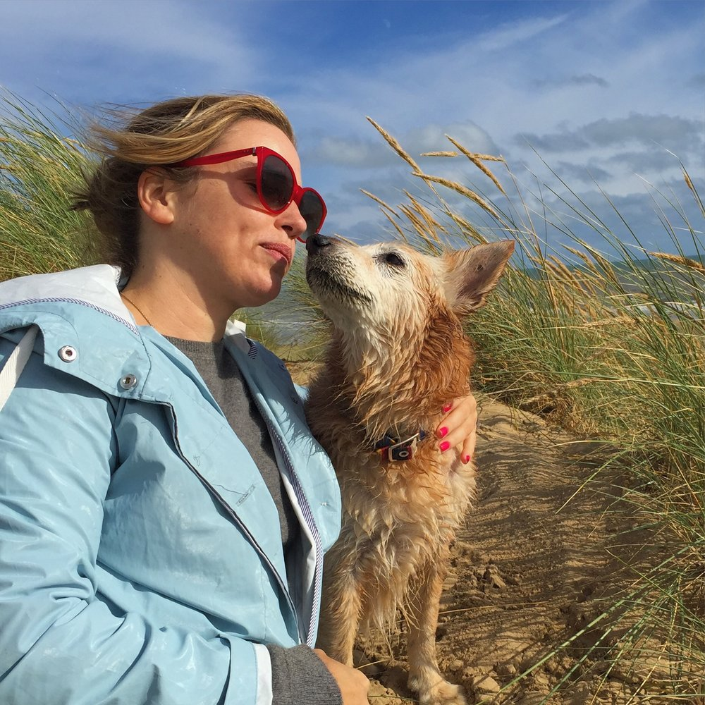 Us in the dunes at Camber Sands, after another day of hard playing and cuddling