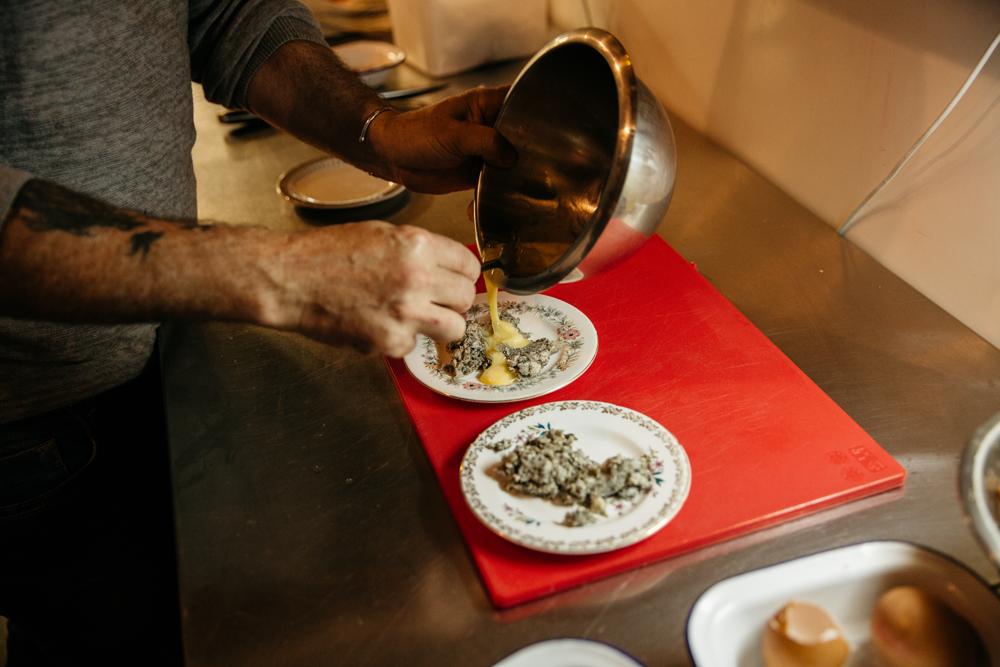 Preparing the tripe and egg